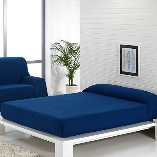 Regalitostv (Azul 180) Colcha Multiusos Omar Foulard (Cama O SOFÁ) Color Liso Jaspeado FÁBRICADO ESPAÑA (180_x_260_cm (SOFÁ 2 PLAZAS O Cama 90), Azul)