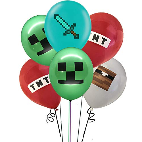35pcs Pixel Miner party supplier Balloons set 12' Latex Balloons for Pixel Miner fans party supplies Kids Baby Shower Birthday Party Decorations