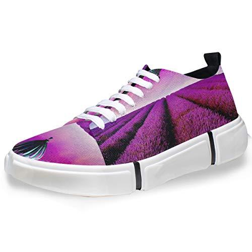 LUPINZ Zapatillas de Skateboard para Hombre con diseño de Globo aerostático de Campo de Lavanda, Color, Talla 42 EU