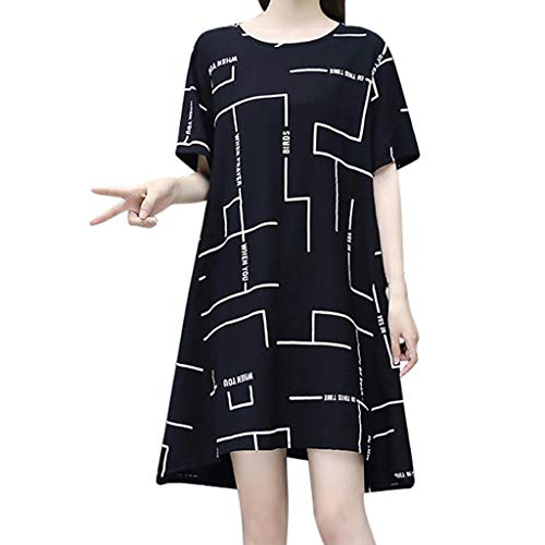 Damen Streifen Lose Kurz Kleid, LeeMon Mode Women Short Sleeve Drucken runder Kragen Kleid