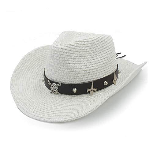 Art und Weise Beiläufiger Wilder Sonnenhut, Strohhut-Damensonnenhut-Hut-Sommer-Cowboyhut-Beiläufiger Männer Ledergürtel-Schädel-Piraten-Panama-Hut-Punkwind-Hut, MDD, Weiß, 58cm