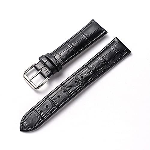 PAZHOU Correa de muñeca cómoda correa de cuero auténtico para reloj de 14 mm, 16 mm, 18 mm, 20 mm, 22 mm, correas de reloj y accesorios (color de la correa: negro, ancho de la correa: 20 mm)