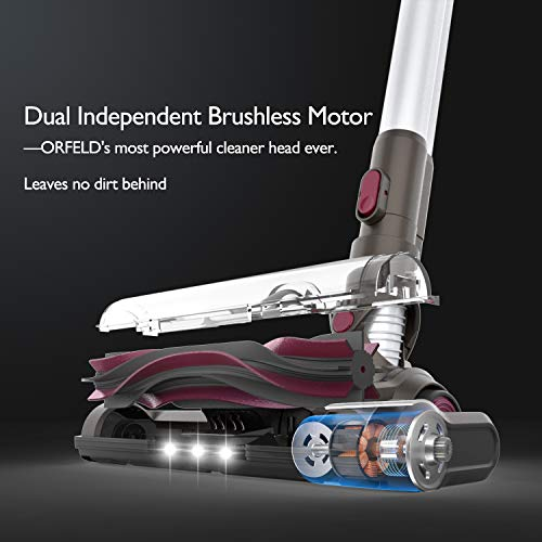 ORFELD Cordless Vacuum, 22000pa Stick Vacuum 5 in 1, Smart Sensor Tech, 7-Cell Lithium-ion Batteries, Up to 60 Minutes Runtime, with Dual Japan   ese Motor for Deep Clean Whole House