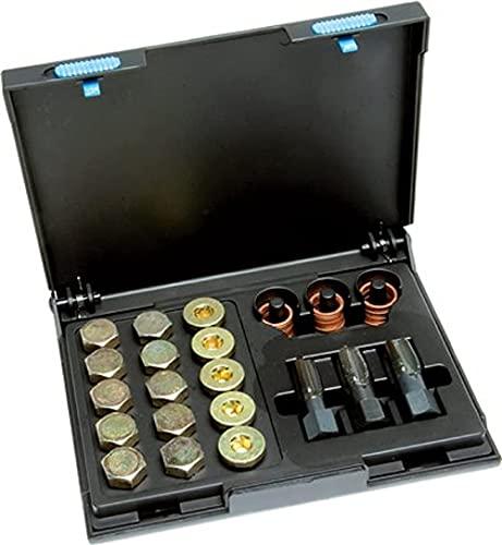 Surtido de reparación de cárter de aceite, cortador de rosca, tornillos de drenaje de aceite, anillos de sellado de cobre (M 13 x 1,5)