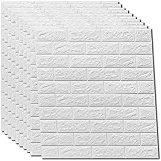 3D Wandpaneele Selbstklebend Steinoptik papel pintado, estanco ladrillos Wandtattoo PVC 77 cm x 70 cm