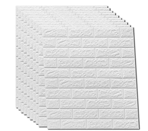 3D Wandpaneele autoadhesivo, aspecto de piedra, resistente al agua, pared de PVC, 77 cm x 70 cm (10, blanco)
