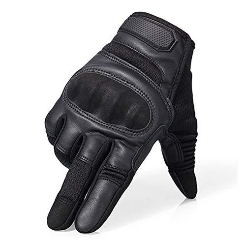 ZZPING Pantalla táctil PU Cuero Motocicleta Guantes de Finger Guantes Protectores Racing Pit Bike Moterbike Moto Motocross Fit para Enduro 2021 (Color : B22 Black, Size : S)