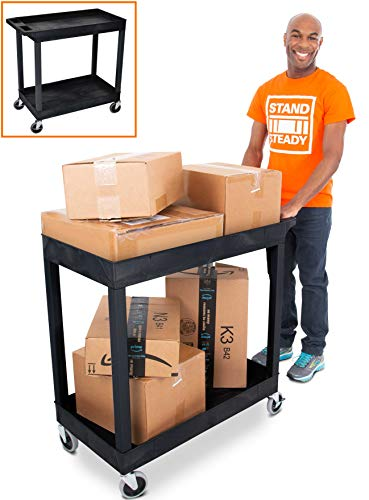 Stand Steady Original Tubstr 2 Shelf Utility Cart/Service Cart - Heavy Duty - Supports up to 400 lbs - Tub Carts w/Deep Shelves - Great for Warehouse, Garage, Cleaning and More! (32 x 18 / Black)
