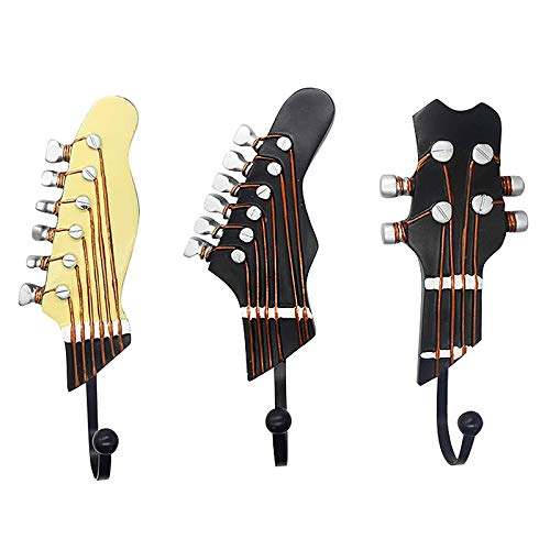 Gifts for Music Lovers, Guitar Music Decor, Music Decorations for Home, Decorative Hooks for Wall Hanging Clothes Coats Towels Keys Hats, Wall Mounted Heavy Duty (3-Pack)