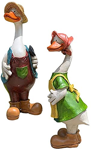 LIUBINGER Escultura Escultura de Pato Animales decoración Resina jardín Estatua Granja jardín Animal Dibujos Animados Animal 2pcs Manualidades