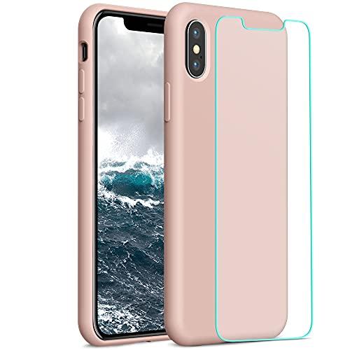 YATWIN Compatibile con Cover iPhone X 5,8'', Compatibile con Cover iPhone XS Silicone Liquido + Vetro Temperato, Protezione Completa del Corpo con Fodera in Microfibra, Rosa Sabbia