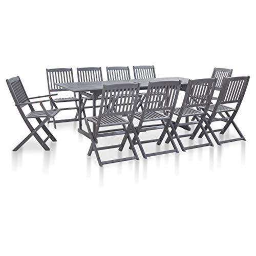 Festnight 11-delige Tuinset massief acaciahout Eettafel en stoel salontafel voor eetkamer woonkamer keuken grijs