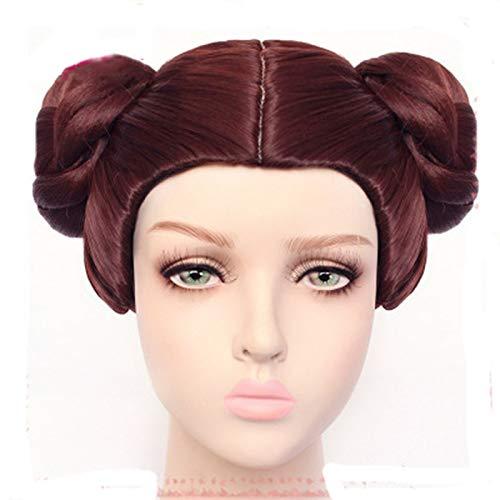 Star Wars Prinzessin Leia Cosplay Perücken Organa Solo Perücke Kurze e Perücken Haare mit zwei Brötchen Anime Cosplay