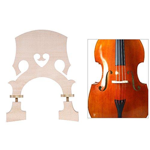 ammoon Puente de Guitarra Estándar del Arce Repuesto para el Tamaño 3/4 Contrabajo Vertical Ajustable Puente Bajo