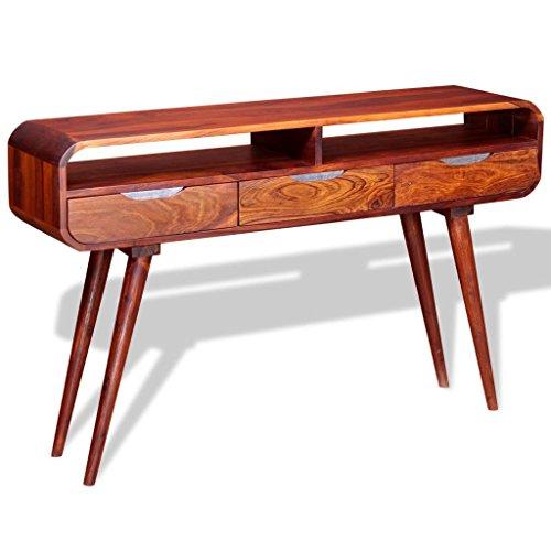 Festnight Table Console Table d'entrée en Bois de Sheesham Massif Meuble de Rangement avec Tiroir 120 x 30 x 75 cm