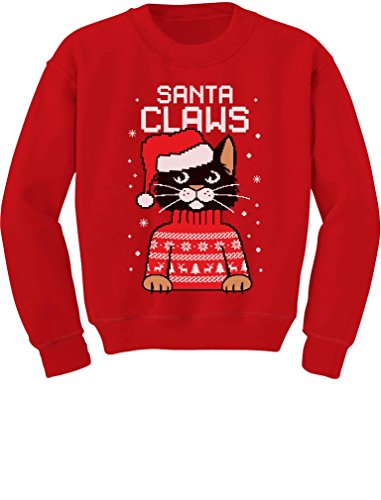 Santa Claws Cat Ugly Christmas Sweater Youth Kids Sweatshirt