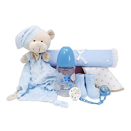 Mi Dulzura Mabybox – Set de regalos para bebés con doudou osito extra suave y set de biberón con chupete y pinza – Regalos para bebés recién nacidos. (Azul)