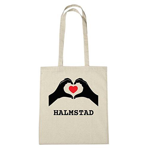 JOllify HALMSTAD Umwelttasche Jutetasche B3867jute - Farbe: natur: Hände Herz