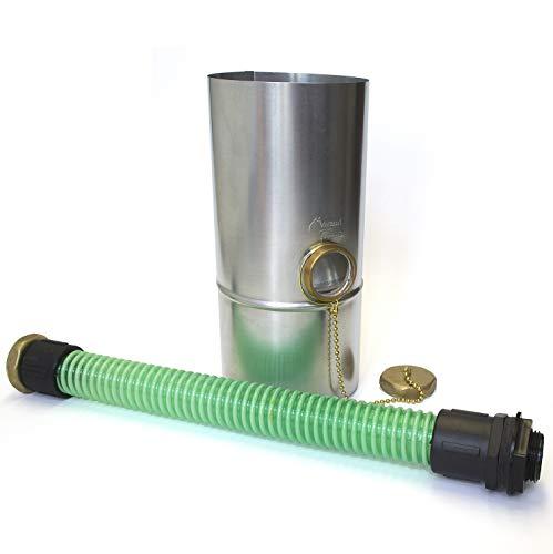 """Titanzink Regenwassersammler-Set, 3 Teile, Ø 12 cm, mit 1 1/4"""" Schlauch und Fassanschluß, Überlaufschutz"""