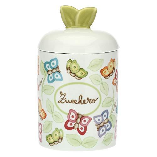 THUN - Barattolo da Cucina per Zucchero, con Decorazione di Farfalle - Accessori Cucina - Linea Farfalle in Festa - Porcellana - con Coperchio 18,5 h cm