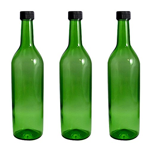 ワイン720 PPL グリーン ワイン瓶720ml -3本セット- (黒ネジCAP)