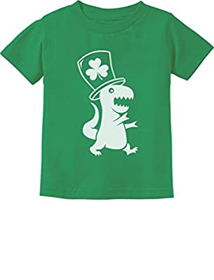 Irish T-Rex Dinosaur Clover Hat St. Patrick's Day Toddler/Infant Kids T-Shirt 5/6 Green