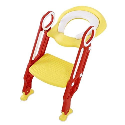 Töpfchentrainer, Toilettenaufsatz Kinder Toilettentrainer Töpfchenstuhl Universal Passend mit verstellbar Treppe Leiter weicher Sitz-Design Klappbar Rutschfest ab 1 Jahre (Rot+Gelb)