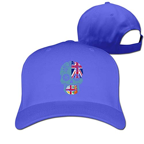 Pimkly Unisexo Sombreros/Gorras de béisbol, Fiji Flag Sugar Skull Cotton Pure Color Baseball Cap Classic Adjustable Visor Hat