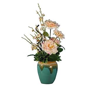 WYWY Camellia Annunciation Plum, Ceramic Vase, Artificial Flower Set, Silk Flower, Artificial Flower Decoration