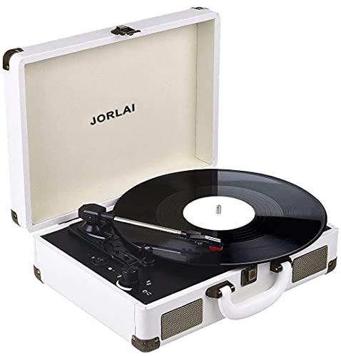 JORLAI Giradischi Vintage in Vinile, Giradischi Portatile Bluetooth con 2 Altoparlanti Stereo Integrati, Supporto 33 45 78 RPM, Registrazione PC, Bianca