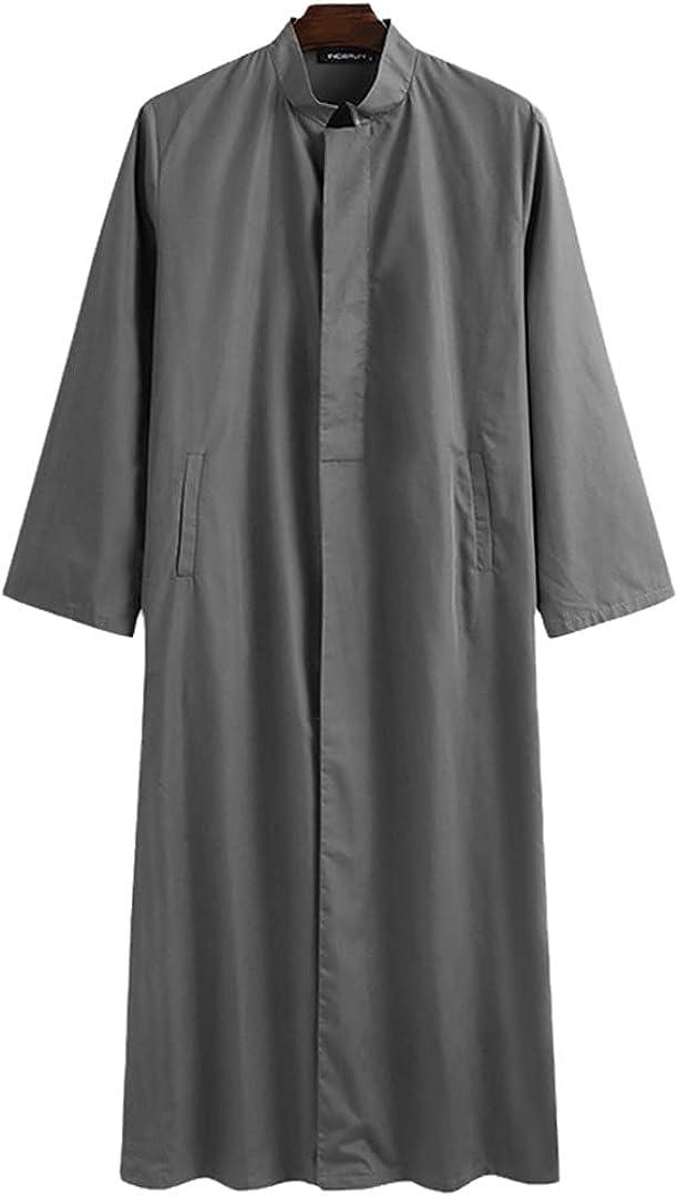 Eyastvgnf Men Muslim Kaftan Islamic Arabic Long Sleeve Retro Solid Button Stand Collar Dubai Robes Caftan