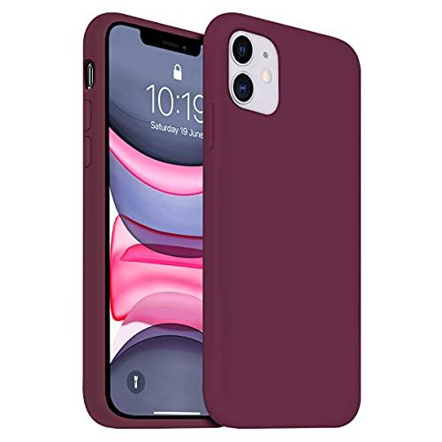OUXUL Funda para iPhone 11, funda protectora de gel de silicona líquida, compatible con iPhone 11, funda de 6.1 pulgadas, cuerpo completo, forro de microfibra suave y delgada, funda protectora (vino)