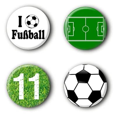 4 Fußball Buttons Ansteckbuttons Fussball EM WM Anstecker Pins (2,5cm)