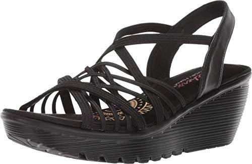 Skechers Damen PARALLEL-Crossed Wires-Multi Gore Slingback Keilabsatz-Sandale, schwarz, 38 EU
