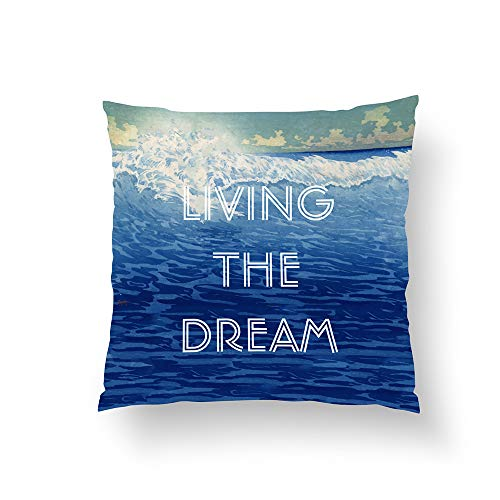 Zippered Pillow Covers Pillowcases One Side 26x26 Inch Inspirational Quotes Beach Living The Dream Pillow Cases Cushion Cover for Home Sofa Bedding
