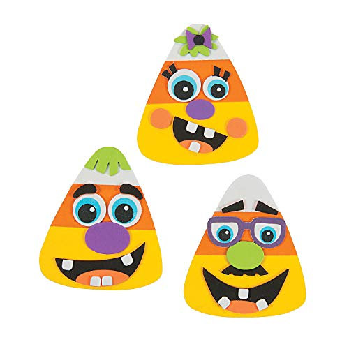 Goofy Face Candy Corn Halloween Craft Kit - Make 12 - Fall Crafts for Kids