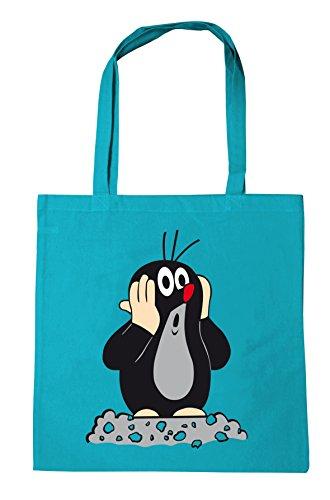 Logoshirt Der kleine Maulwurf Baumwolltasche - Stofftasche mit Druck und langen Tragegriffen - türkis