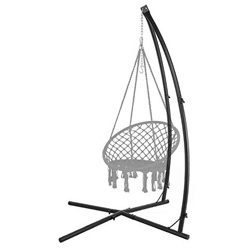 LAZZO C-Type Hammock Chair Stand,Heavy Duty Steel Solid Hammock Rack Stand,Adjustable Height,for Hanging Chair,Tree Tent,Loungers,Air Porch,Swings,Indoor/Outdoor Patio,Deck,Yard,220lbs Capacity,Black