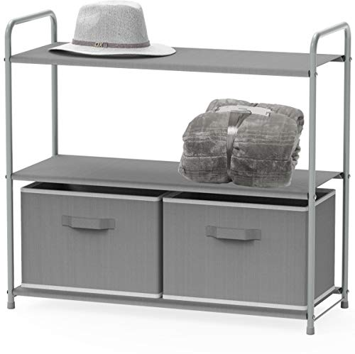 Simple Houseware 3-Tier Closet Storage with 2 Drawers, Grey