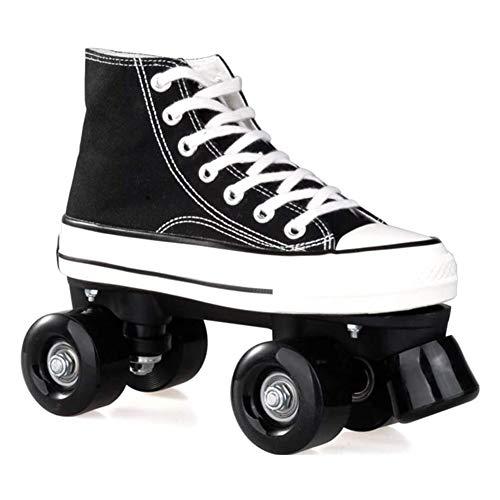 HealHeatersR Meisjes en Jongens Quad Roller Skates Canvas Volwassen Dubbele Rij Skates Prachtige Gift Ideeën, Hoge Top Sneaker Stijl