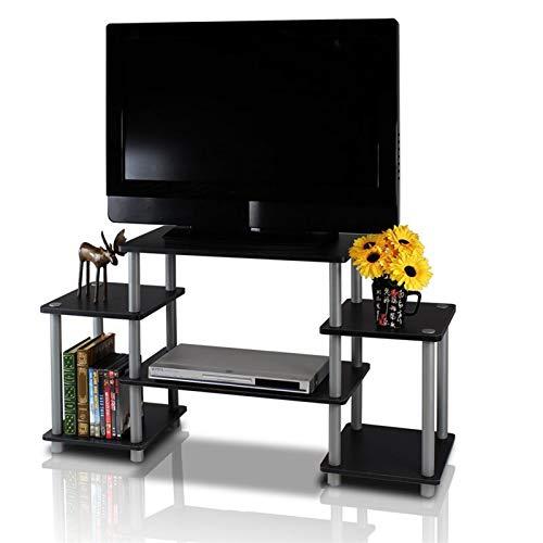 WWLONG Unidad de TV TV Consola de Entretenimiento de TV Industrial Gabinete, Marco de la TV Mesa con Madera de Acero Estanterías, para la Sala de Estar Dormitorio Black