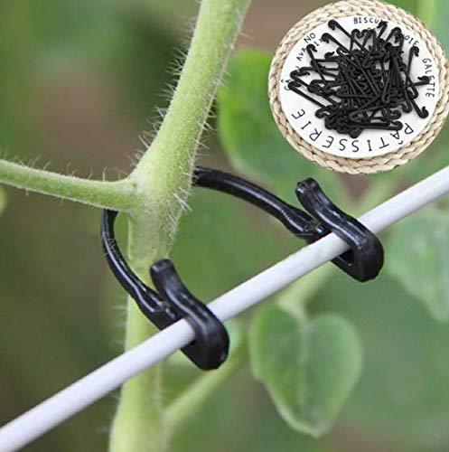 SISHUINIANHUA 50pcs   lot vignes Attache de greffe de Plantation Clip de Jardin de légumes de Tomate de Soutien agricole de la Serre de Fournitures pour Treillis,Black
