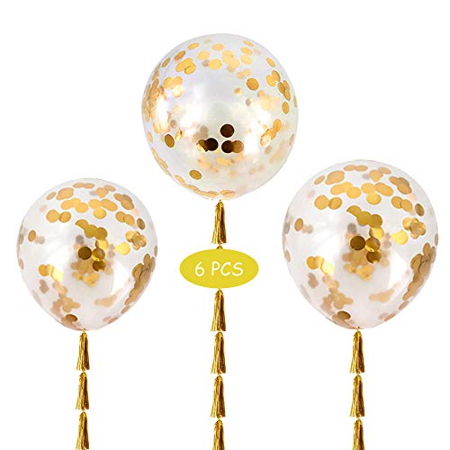 6 Big Balloons - 36 Inch Round Balloons - Giant Latex Balloon with Gold ConfettinLatex Glitter Balloons for Wedding/Birthday Party Decorations, Photo Shoot and Festivals Christmas Decorations