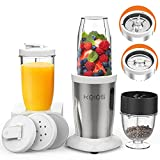 KOIOS PRO 850W Bullet Personal Blender for Shakes and Smoothies, Protein Drinks, 11 Pieces Set Blender for Kitchen with Ultra Smooth 6-Edge Blade, Coffee Grinder for Beans, Nuts, Spices, 2x17 Oz + 10 Oz Large & Small To-Go Cups, 2 Spout Drinking Lids, Portable Travel Mixer, BPA Free (White)