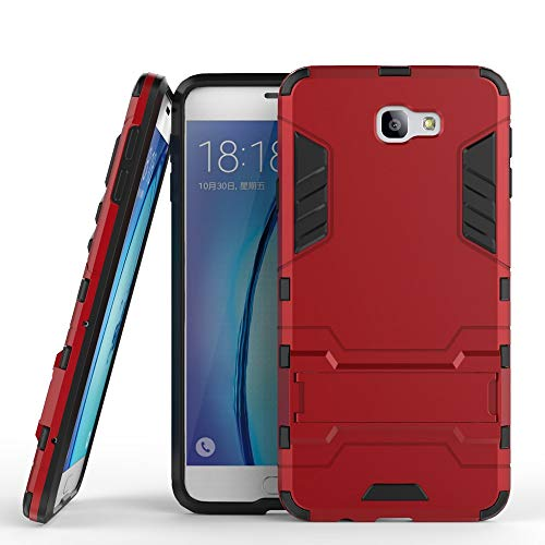 COOVY® Cover für Samsung Galaxy J7 Prime SM-G610Y /Duos SM-G610F / DS / On7 Bumper Hülle, Doppelschicht aus Plastik + TPU-Silikon, extra stark, Anti-Shock Hülle, Standfunktion | rot