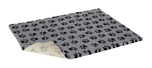 Vetbed Hunde- und Katzenbett, Grau mit schwarzen Pfotenabdrücken