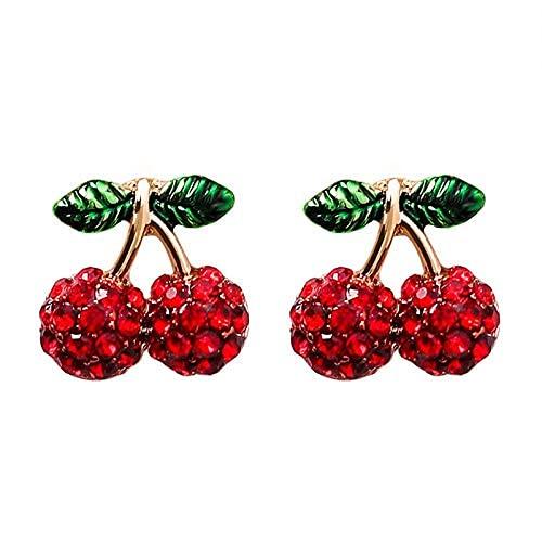 Pendientes de tuerca de cerezo para mujeres y niñas, encantadores de la moda de esmalte rojo ultra claro cristal cerezas..