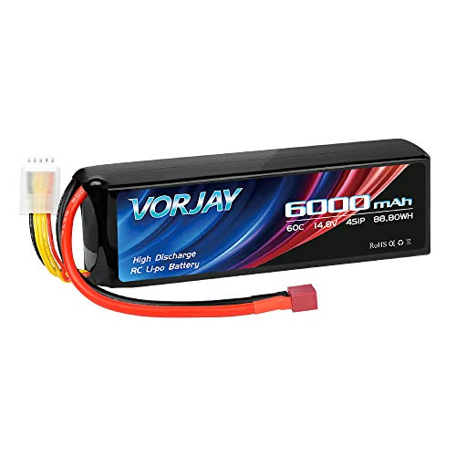 VORJAY 14.8V 60C 6000mAh 4S Lipo Battery with Deans T Plug Lipo Batteries...