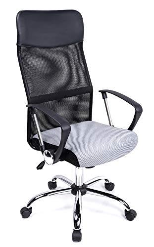 Exofcer Bürostuhl Schreibtisch Stuhl Hohe gebogen Mesh Chefsessel Bürostuhl Höhe verstellbar Computer Drehstuhl Schreibtisch Stuhl Schwarz (Grau)