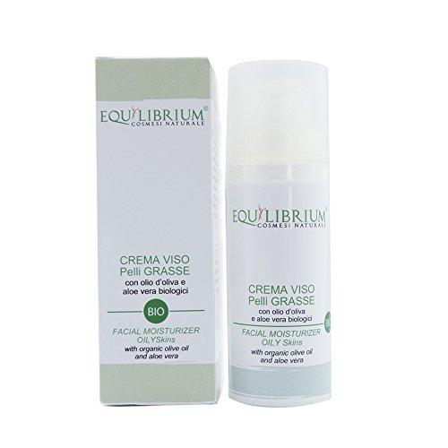 EQUILIBRIUM - COSMESI NATURALE Crema viso pelli GRASSE 50 ml BIO con Olio d'Oliva e Aloe Vera biologici